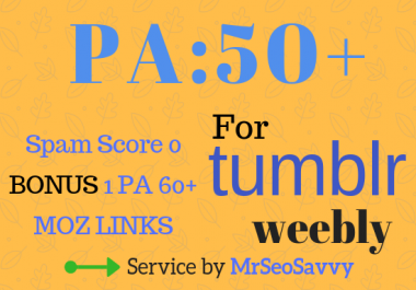 High PA 50+ 12 Expired Tumblr or Weebly Blogs