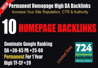 10 Dofollow Permanent PBN DA-PA 35-65 Backlinks on TF-CF+20 Domains