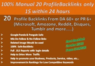 Google Influencing DA80+ PR9 Monually done 20 HQ Authority Profile Backlink