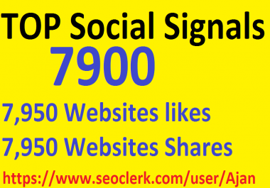 7,900 Social Signals From Top 1 Social Media Websites Increase Your SEO Ranking
