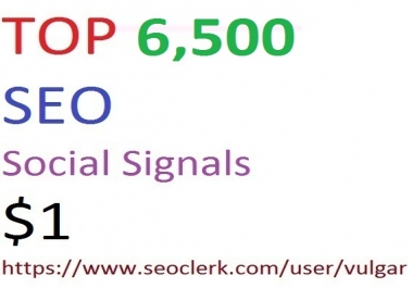 6,500 Social Signals From Top 1 Social Media Websites Increase Your SEO Ranking