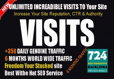 3 Months Unlimited Worldwide Traffic Visitors To Push Your Sites In SERPs and Alexa