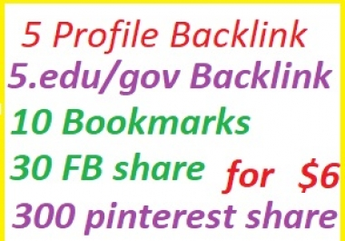 Rank with 5 PB+5 gov/edu PB+25bookmark+15 fb share+300 pinterest share