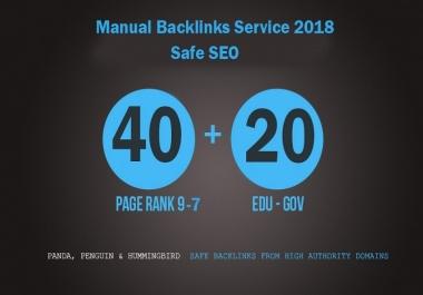 High authority 65 Backlinks service 45 profile and 20 edu/gov links