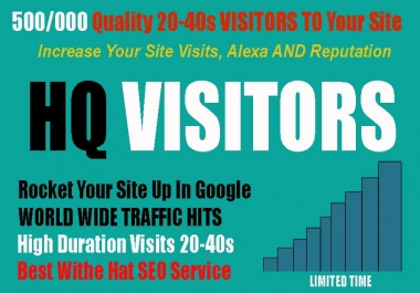 Send 500000 Quality and Low Bounce Rate Traffic Visitors To Your Site