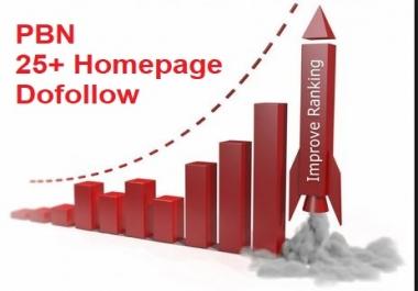 Get Dofollow 25+ Hompage PBN Backlinks using high PA/DA