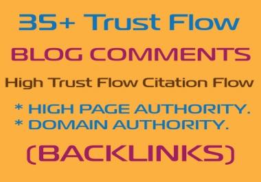 HQ 35 Plus High Trust Flow Blog Comment Backlinks