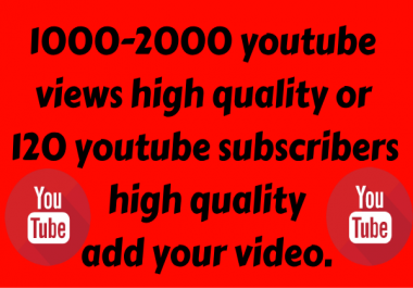 1000-1200 Youtube Views Or 100 Youtube Subscribers High Quality Permanent Very fast delivery and very cheap price