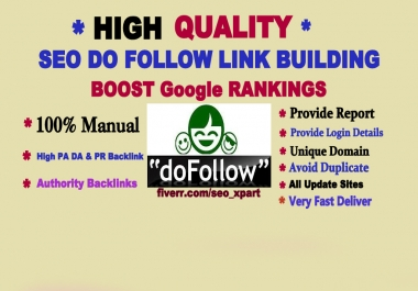 create hige Quality DA/PA rank 20 plus 60 seo backlink , link building only