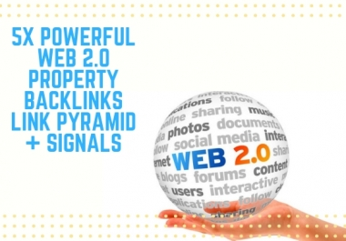 Powerful 5x Web 2.0 Property Link Pyramid Backlinks Signals for Web 2.0 Power!