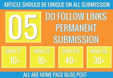 create homepage permanent do follow 5 pbn backlinks