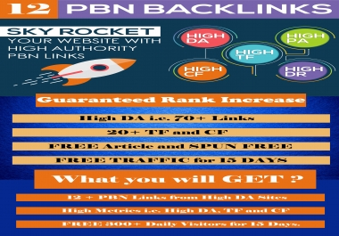 Create 12+ PBN Links with high DA sites and 5 Links FREE
