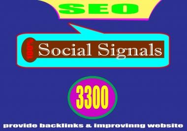 SEO Quality Backlinks, Provide 3300 Social Signals