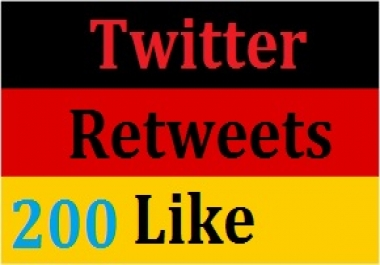 Real 200+ High Quality Retweets or 200+ Like  24-48 hours completed