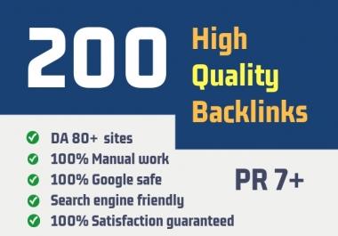 Google Top Ranking - 200 Unique Domain High Quality SEO Backlinks