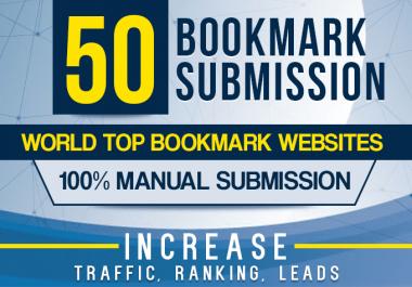 I will manually 50 bookmark submission backlinks, high pa da cf tf