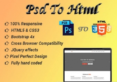 Instant Convert Psd To HTML And Psd To Wordpress Website within 24 Hours
