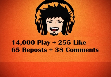 Music promotion 14,000 play + 255 Like + 65 Repost + 38 Comments