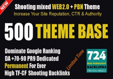 Theme Base Link Pyramid 500 Powerful Compact Shooting Backlinks Mixed WEB2.0+PBN NEW
