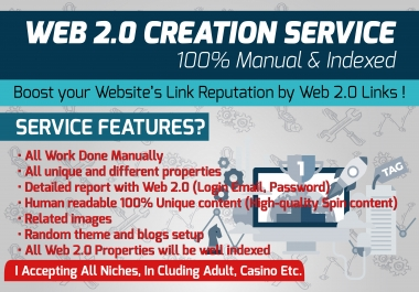 Web 2.0 Creation Service - 100% Manual & Indexed 10 Web 2.0 Posts