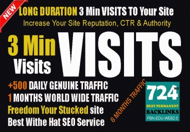 Send Long Duration Traffic Visitors 3 Min Targeted Base Visits For 1 Month
