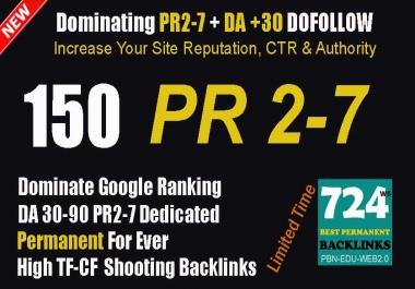 Create 150+ Manual PR 1-7 OR DA 30-50 High Authority Backlinks Dominate Google