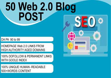 Build 50 Manual High Metrics Web 2.0 Blog DA PA 90 to 99, PR9 PR7, With Google Index