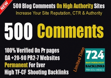 I'll Provide 500 Verified Blog Comment Backlinks To Push Your Site In Google 1 Page