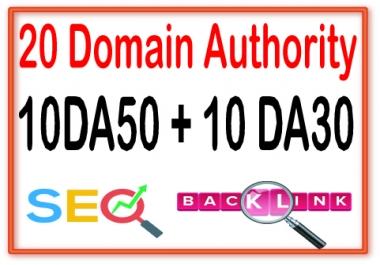 Do 20 Domain Authority 10DA50 + 10 DA30- High Quality backlinks