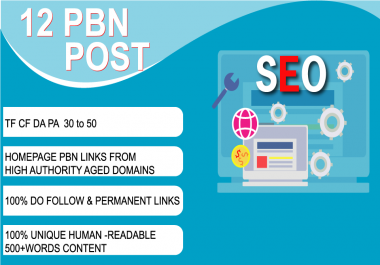 Create 12 Permanent  High PR DA PA TF CF 50 to 30 Homepage PBN Backlinks