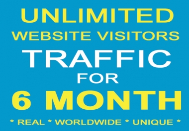 SIX MONTH Unlimited Real Unique Visitors Traffic to Website
