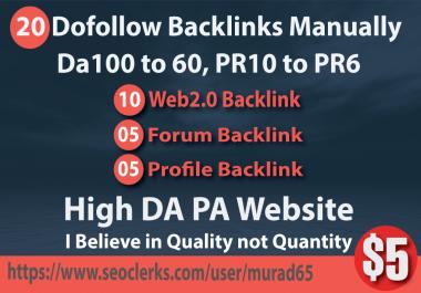20 Dofollow Backlinks Manually Da100 to 60, PR10 to PR6 High Authority