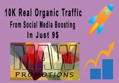 Real Organic 10k Traffic On Your site or blog with Social Boosting