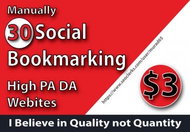 Manually 30 Social Bookmarking High DA PA Sites