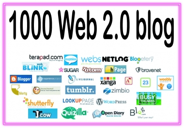 Give you 1000 web 2.0 HQ & Most Effective backlinks