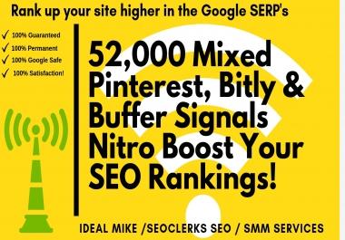 52,000 Mixed Pinterest Bitly & Buffer Social Signals Nitro Boost Your SEO Rankings!