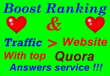 Offer you HQ and niche Relevant 10 Quora answer with clickable Backlinks  and organic traffic