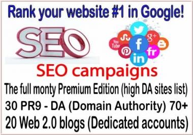 HQ SEO campaigns-The full monty Premium Edition-30 PR9 - DA (Domain Authority) 70-20 Web 2.0 blogs backlinks