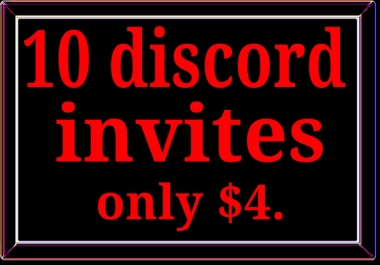 Real 10 discord invites fast delivery and instant start 6-12 hours