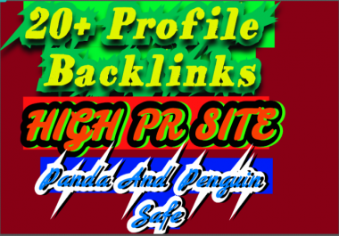 I will do  20 profile backlinks manual panda and penguin safe for rank your sites
