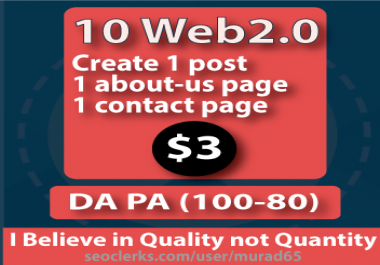 10-Web2.0 with About-us and Contact Page High Quality Backlink  | DA 90-100