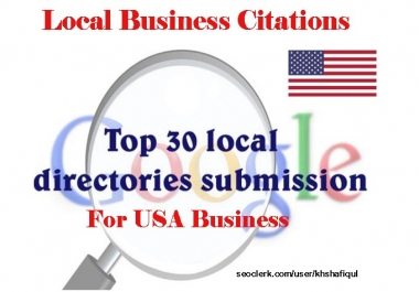 provide 30 local listings for USA local business ranking