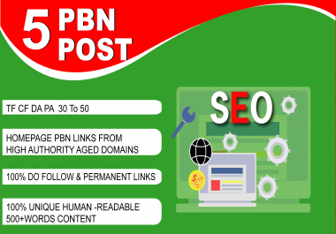 Build 5 Manual High Metrics DA PA TF CF 50 to 30 Premium PBN Backlinks For SEO