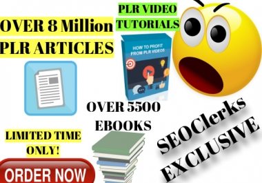 Get Instantly Over 8 Million PLR Articles, 5500 Ebooks With Stock Images, PLR video tutorial, etc..