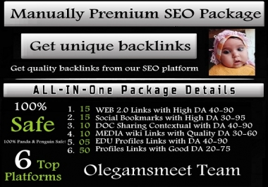 Manually Premium SEO Package to Get Unique Backlinks from Top 6 Platforms