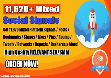 Kickstart Your 2019 Google Rankings w/ 11,620+ Mixed Social Signals Power Pack Bookmarks Backlinks