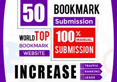 50 Bookmark Submission Backlinks, High Pa Da Cf Tf