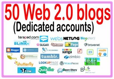 Add 50 Unique Web 2.0 blogs  SEO Backlinks On High PR Sites