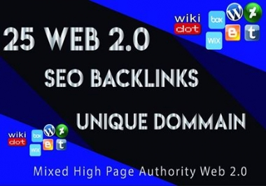 Create 25 High Da Web 2.0 Seo Backlinks Contextual Unique domain with login details