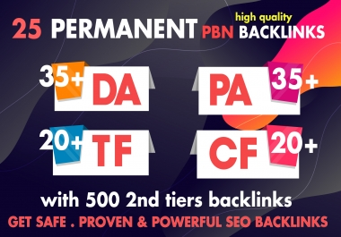 Create  25 Permanent Homepage PBN With 500 2nd Tiers Backlinks